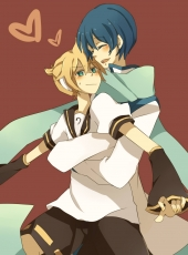 Kagamine Len, Vocaloid, Fanart, Pixiv, Mugi (Twinbox), Kaito, Age Difference, Aqua Eyes, Blonde Hair, Blue Hair, Blush, Couple, Detached Sleeves, Duo, Heart, Hug, Hug From Behind, Male, Short Hair, Two Males