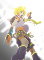 Kagamine Len, Vocaloid, Aqua Eyes, Blonde Hair, Detached Sleeves, Male, Midriff, Music, Shorts, Singer, Solo