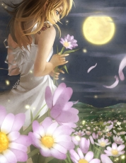 Flower, Kingdom Hearts 2, Naminé, Shilin, Blue Eyes, Dress, Long Hair, Moon, Night, Petal, Tattoo, White Dress, White Outfit, Wind, Blonde Hair