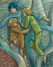 Kagamine Len, Kagamine Rin, Vocaloid, Kaito, Barefoot, Bed, Blonde Hair, Blue Hair, Closed Eyes, Female, Hug, Laying Down, Male, Scarf, Short Hair, Sleeping, Sleepwear, Threesome, Twins, Kagamine Twins