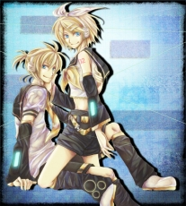 Kagamine Len, Kagamine Rin, Vocaloid, Aqua Eyes, Blonde Hair, Blue Eyes, Detached Sleeves, Duo, Female, Male, Midriff, Shorts, Siblings, Twins, Kagamine Twins