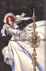 Thores Shibamoto, Gloves, Short Hair, White Dress, White Outfit, THORES Shibamoto, Trinity Blood, Esther Blanchett, Blue Eyes, Dress, Female, Jewelry, Necklace, Red Hair