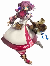 Game Arts, Grandia Online, Bag, Blue Eyes, Female, Hair Ornament, Purple Hair, Short Hair, Solo