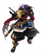 Game Arts, Gloves, Grandia Online, Boots, Horns, Long Hair, Male, Mask, Purple Hair, Solo, Sword