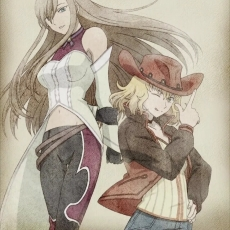 Natalia Luzu Kimlasca Lan..., Tales of the Abyss, Tear Grants, Alternate Outfit, Blonde Hair, Brown Hair, Duo, Female, Hat, Long Hair, Short Hair, Two Girls, Official Art