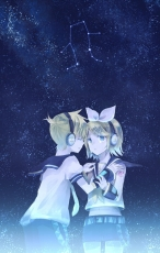 Kagamine Len, Kagamine Rin, Vocaloid, Duo, Closed Eyes, Kagamine Twins, Usui (Tripcube), Female, Sky, Zodiac, Blonde Hair, Gemini, Male, Stars (Sky), Gemini (Vocaloid), Constellation, Crying, Headphones, Night Sky, Siblings, Touch, Twins