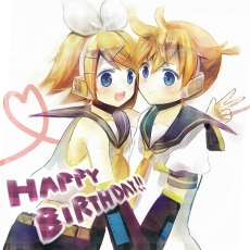 Happy, Kagamine Len, Kagamine Rin, Vocaloid, Female, Blonde Hair, Twins, Blue Eyes, Duo, Male, Siblings, Kagamine Twins