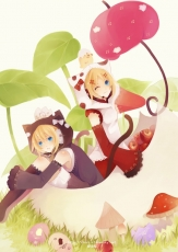Kagamine Len, Kagamine Rin, RINvi, Vocaloid, Hoodie, Siblings, Twins, Umbrella, Pixiv, Kagamine Twins, Mushroom, Short Hair, Alternate Outfit, Apple, Female, Blue Eyes, Leaf Umbrella, Blonde Hair, Detached Sleeves, Duo, Jacket, Kemonomimi, Leaves, Male