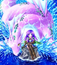 Minatosaiga, Sarisa Scherwil Tycoon, Square Enix, Final Fantasy V, Syldra, Water, Purple Hair, Female, Dragon, Long Hair