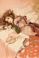 Flower, Guo Guo, The History Of The West W..., Original, Traditional Clothes, Braids, Chinese Clothes, Hair Flower, On Stomach, Brown Hair, Closed Eyes, Female, Laying Down, Long Hair, Pink Flower, Solo, Cherry Blossom