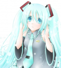 Happy, Vocaloid, Headphones, Blush, Long Hair, Tie, Blue Hair, Female, Snow, Solo, Twin Tails, Winter, Hatsune Miku, Blue Eyes