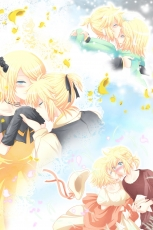 Flower, Kagamine Len, Kagamine Rin, Vocaloid, Zashiki Usagi, Gloves, Soundless Voice, Female, Story Of Evil, Princess, Kagamine Twins, Blush, Paper Airplane, Siblings, Pixiv, Alternate Outfit, Blonde Hair, Couple, Duo, Kiss, Male, Petal, Soft Colors, Twins, Prisoner Series, Song-Over