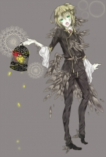 Kagamine Len, Vocaloid, Wings, Green Eyes, Male, Bird, Cage, Pants, Solo, Animal, Blonde Hair, Feather, Ponytail, Short Hair