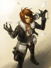 Final Fantasy VIII, Scar, Squall Leonhart, Square Enix, Dissidia, Solo, Short Hair, Male, Gunblade, Feather, Brown Hair, Blue Eyes