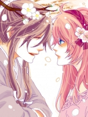 Flower, Kamui Gakupo, Luka Megurine, Vocaloid, Male, Female, Pink Hair, Blue Eyes, Long Hair, Purple Hair