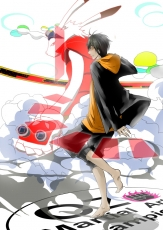 Kazuma Ikezawa, King Kazma, Anthro, Barefoot, Short Hair, Black Hair, Kemonomimi, Shorts, Artist Request, Summer Wars, Dark Skin, Duo, Male, Oz (Summer Wars), Two Males, Usagimimi