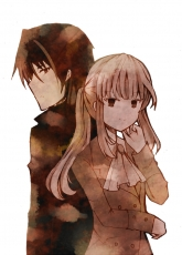Ushiromiya Lion, Willard H. Wright, Long Hair, Duo, Brown Hair, Umineko no Naku Koro ni, Two Males, Male, 07th Expansion, Short Hair, Back To Back, Blonde Hair