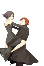 Brown Hair, Black Hair, Claire Stanfield, Looking At Another, Chane Laforet, Simple Background, Holding In Arms, Female, Baccano!, Pixiv, White Background, Short Hair, Male, Holding Close, Duo, Couple