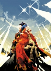 Kotaro Mori, Smile, Closed Eyes, Simon, Kamina, Back To Back, Cape, Clouds, Duo, Hand On Hip, Looking Up, Male, Two Males, Rocket, Sky, Spiky Hair, Stars, Tengen Toppa Gurren Lagann