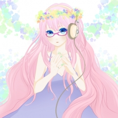 Flower, Luka Megurine, Vocaloid, Wogura, 1:1 Ratio, Jewelry, Female, Glasses, Long Hair, Hair Flower, Headphones, Pink Hair, Ring