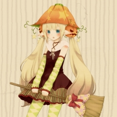 Mizutama Ko, Twin Tails, Pointy Ears, Hat, Halloween, Elf, Blonde Hair, Pixiv, Detached Sleeves, Broom, 1:1 Ratio