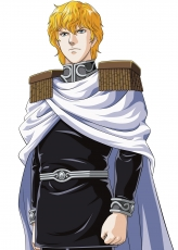 Scan, Official Art, White Background, Uniform, Simple Background, Military Uniform, Male, Cape, Blonde Hair, Yoshiki Tanaka, Reinhard von Lohengramm, Legend of the Galactic Heroes