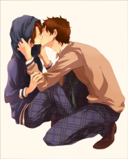 Axis Powers: Hetalia, Pixiv Id 1843825, Spain, Studio Deen, School Uniform, Male, Brown Hair, Mediterranean Countries, Couple, Closed Eyes, Short Hair, Uniform, South Italy, Ahoge, Alternate Outfit, Duo, Kiss, Kiss On The Lips, Two Males, Yaoi, Gakuen Hetalia