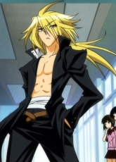 Kouki Akune, Black Outfit, Hand In Pocket, Solo, Male, Bandages, Open Shirt, Long Hair, Blonde Hair, Medaka Box