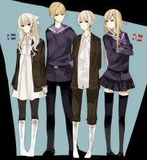 Axis Powers: Hetalia, Iceland, Norway, Shimatsu, Smile, Studio Deen, PNG Conversion, Male, Nordic Countries, Pants, Thigh Highs, Purple Eyes, Short Hair, White hair, Nyotalia, Long Hair, Quartet, Sailor Suit, Standing, Fanart, Fanart From Pixiv, Pixiv, Gender Bending, Flag, Female, Blonde Hair, Family, Bows (Fashion), Black Thigh Highs, Ahoge, Hair Bow, Couple, Country Flag, Boots, Blue Eyes, Black Socks, Black Legwear, Hair Clip