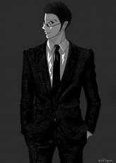Leorio Paladiknight, Pixiv Id 3595243, Hunter X Hunter, Fanart, Solo, Suit, Short Hair, Monochrome, Male