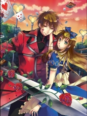 Alice Liddell, Flower, Heart No Kuni No Alice, Quinrose, Ace (Heart No Kuni No Ali..., Jacket, Long Hair, Male, Sword, Female, Red Eyes, Rose, Weapons, Duo, Green Eyes, Red Hair, Ribbon, Short Hair, Sky, Brown Hair, Card (object), Alice in Wonderland, Blood, Dress