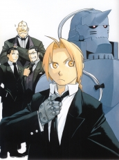 Hiromu Arakawa, Square Enix, Suit, Simple Background, Short Hair, Bald, Quintet, Five Males, Armor, Edward Elric, Fullmetal Alchemist, Elric Brothers, Scan, Official Art, White Background, Male, Gold Eyes, Blonde Hair, Black Hair, Roy Mustang, Maes Hughes, Alphonse Elric, Alex Louis Armstrong, Fullmetal Alchemist: Brotherhood