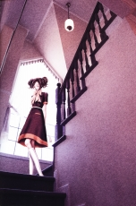 Nana Komatsu, Smile, Ai Yazawa, High Heel Boots, Female, Stairs, Closed Eyes, Brown Hair, Window, Pink, Solo, Dress, Brown Outfit, Brown Dress, Official Art, Twin Tails, Standing, Short Hair, NANA