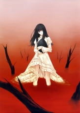 Innocent Grey, Kuchiki Toko, Red, Sugina Miki, School Uniform, White Outfit, White Dress, Standing, Long Hair, Straight Bangs, Hime Cut, Solo, Sidelocks, Sea Of Blood, Female, Black Hair, Dress, Bangs, Nuregarasu Artbook, Egg, Branch, Blood, Kara No Shoujo