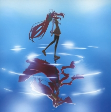 Shinkyoku Soukai Polyphon..., School Uniform, Thigh Highs, Water, Wind, Long Hair, Red Hair, Reflection, Different Reflection, Corticarte Apa Lagranges, Bows (Fashion), Female, Hair Bow