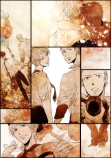 Axis Powers: Hetalia, Flower, Germany, Prussia, Studio Deen, Albino, Blonde Hair, Germanic Countries, Brothers, Short Hair, Duo, Hug, Siblings, Fanart, Family, Male, Two Males, White hair, Fanart From Pixiv, Pixiv, Farah