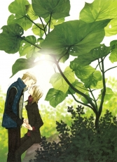 Green, Lily Hoshino, Pixiv, Male, Couple, Nature, Duo, Jacket, Outdoors, Blonde Hair, Holding Hands, Kiss, Leaves, Yaoi