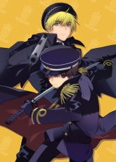 Axis Powers: Hetalia, Japan, Studio Deen, United Kingdom, Male, Military Uniform, Black Hair, Duo, Short Hair, Weapons, Blonde Hair, Gun, Katana, Sword, Uniform, Pixiv, 2no