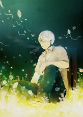 Ginko, M 0514, Pixiv, Smoking, Solo, White hair, Fanart, Fanart From Pixiv, Mushishi, Bangs, Bent Knees, Cigarette, Glasses, Green Eyes, Male, Peek-a-Boo Bang, Short Hair, Sitting