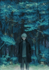 Ginko, Pixiv Id 1265510, White hair, Fanart, Pixiv, Mushishi, Forest, Male, Nature, Night, Short Hair, Solo, Tree