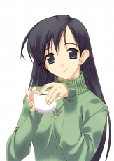 Murakami Suigun, White Background, Coffee, Necklace, Jewelry, Purple Eyes, Long Hair, Earrings, Black Hair, Sweater, Simple Background, Green Sweater