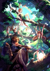 Forest, Nature, 00111 (Artist), Group, Male, Female, In A Tree, Kemonomimi, Fanart, Fanart From Pixiv, Pixiv, Pixiv Fantasia, Rainbow, Sitting, Tree, Usagimimi