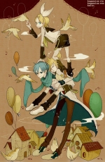 Kagamine Len, Kagamine Rin, Sunaya, Vocaloid, Short Hair, Twins, Fanart, Pixiv, Kagamine Twins, Female, Male, Animal, Bird, Kaito, Balloon, Blonde Hair, Blue Hair