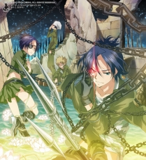 Flower, Ken Joushima, Chikusa Kakimoto, Rokudou Mukuro, Scar, Gloves, School Uniform, Short Hair, Group, Staff, Glasses, Hat, Trident, Male, Purple Hair, Standing, Uniform, Hair Clip, Heterochromia, Night, Spiky Hair, Sky, Ruins, Water, Weapons, Kokuyo Gang, Katekyo Hitman Reborn!, Blonde Hair, Adjusting Glasses, Eyepatch, Chrome Dokuro, Kokuyō, Blue Hair, Chain, Demon, Crouching
