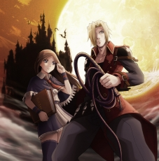 Charlotte Aulin, Jonathan Morris, Castlevania: Portrait Of ..., Castle, Female, Male, Book, Duo, Whip, Moon, Weapons