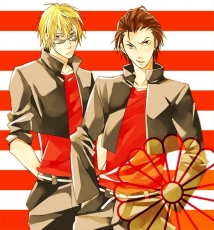Shizuo Heiwajima, Kadota Kyouhei, School Uniform, Two Males, Short Hair, Uniform, Tsuppari High School Rock..., Blonde Hair, Duo, Brown Hair, Male, Durarara!!, Gakuran, Glasses, Sub