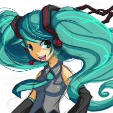 Keyeske, Smile, Vocaloid, Headphones, Open Mouth, Twin Tails, Female, Hatsune Miku, Long Hair, Solo, Tie