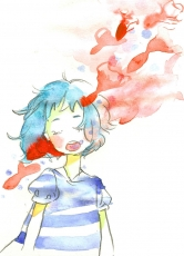 GUMI, Vocaloid, Goldfish, Shirt, Short Hair, Fish, Green Hair, Striped, Solo, Striped Print, Striped Shirt, Traditional Media, Blue Hair, Female, Closed Eyes, Animal
