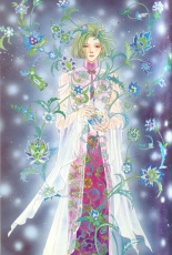 Matsuri Akino, Green Hair, Chinese Clothes, Count D, Pet Shop of Horrors, See Through Clothes, Changshan, Maboroshi No Hana Yoi No ... Artbook, Male, Official Art, Scan, Solo, Traditional Clothes