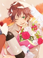 Axis Powers: Hetalia, Flower, Spain, Studio Deen, Carnation, Brown Hair, Short Hair, Mediterranean Countries, Bouquet, Male, Green Eyes, Solo, Fanart, Pixiv, Wink, Ki (Vicolor)